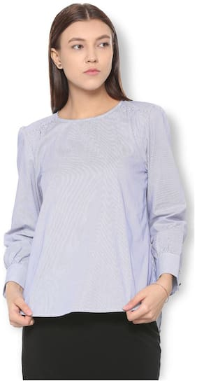 Van Heusen Women Cotton Striped - A-line Top Purple