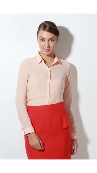 Van Heusen Polyester Peach Solid Regular Fit Business Casual Shirt