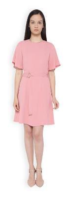 Van Heusen Cotton Solid A-line Dress Pink