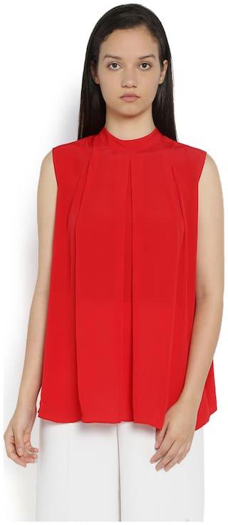 Van Heusen Women Viscose Solid - A-line Top Red