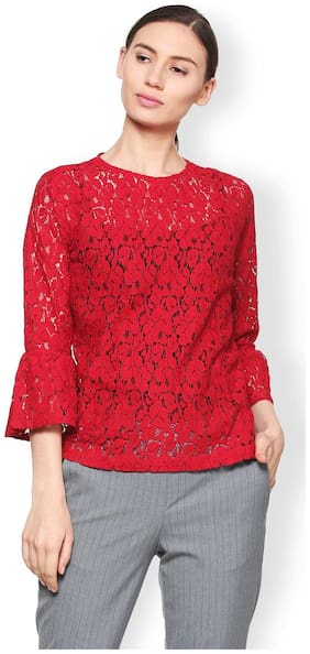 Van Heusen Women Cotton Floral - A-line Top Red