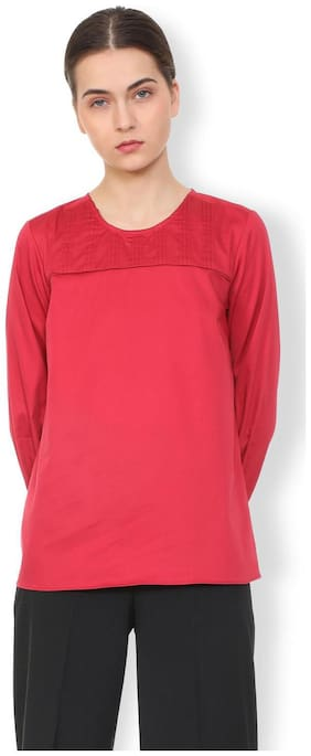 Van Heusen Women Cotton Solid - A-line Top Red