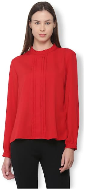 Van Heusen Women Polyester Solid - Regular Top Red