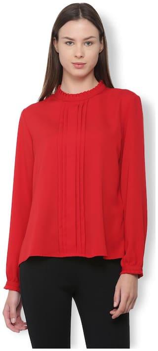 Van Heusen Women Polyester Solid - Regular Top Red