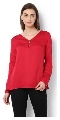 Van Heusen Women Nylon Solid - A-line Top Red