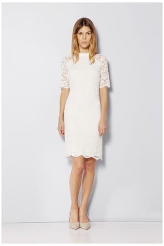 Van Heusen Regular Polyester White Dress