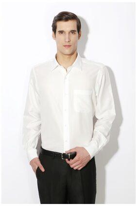 Van Heusen White Cotton Blend Regular Fit Formal Shirts