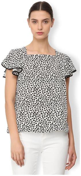 Van Heusen Women Polyester Printed - Regular Top White