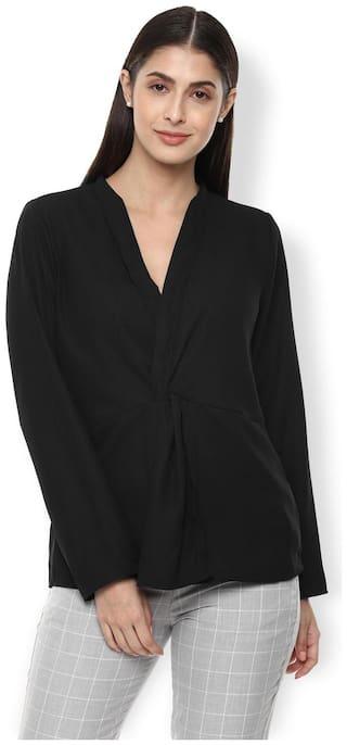 Van Heusen Women Solid Regular top - Black