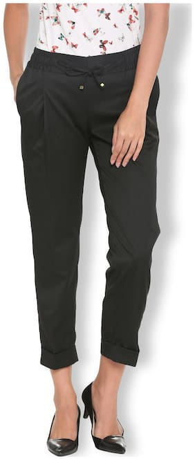 Van Heusen Women Regular fit Solid Regular trousers - Black