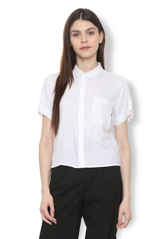 ea5a5a7d13b Buy Van Heusen Women Regular Fit Self Design Shirt - White Online at ...