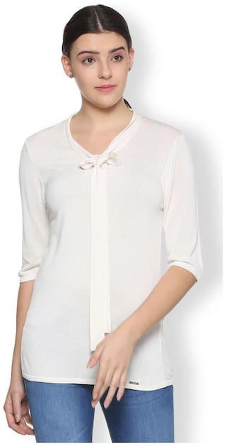 Van Heusen Women Solid Regular top - White