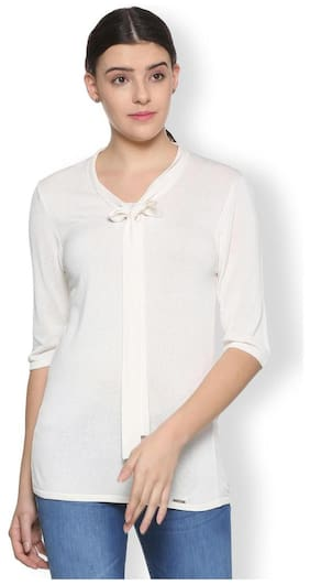 Van Heusen Women Viscose Solid - Regular Top White