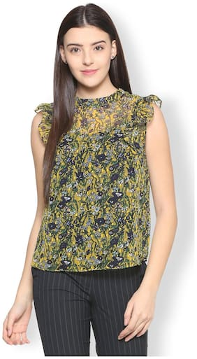 Van Heusen Women Polyester Printed - Regular Top Yellow