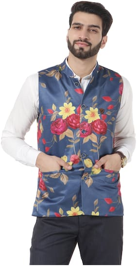 VANDNAM Men Blue Floral Slim Fit Ethnic Jacket