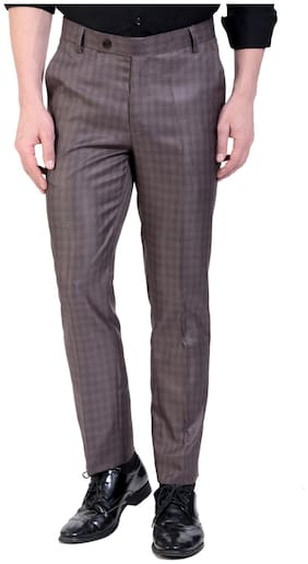VANDNAM Men Checked Slim Fit Formal Trouser - Brown