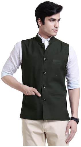VANDNAM Men Green Solid Slim Fit Ethnic Jacket