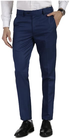 VANDNAM Men Solid Slim Fit Formal Trouser - Blue
