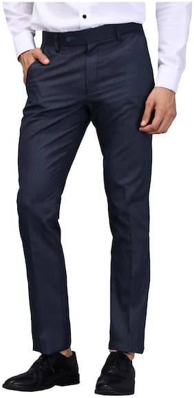 vandnam slim fit self design darkblue formal trouser
