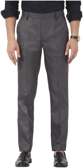 VANDNAM Men Solid Slim Fit Formal Trouser - Grey