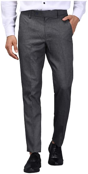 VANDNAM Men Textured Slim Fit Formal Trouser - Grey