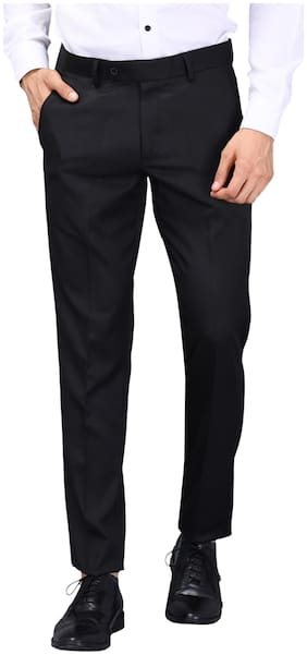 VANDNAM Men Solid Slim Fit Formal Trouser - Black