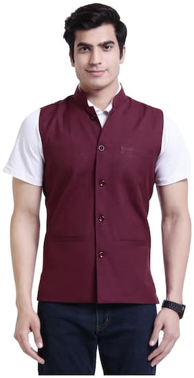 vandnam slim fit maroon jacket