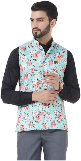 VANDNAM Men Green Floral Slim Fit Ethnic Jacket
