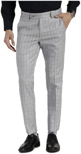 VANDNAM Men Checked Slim Fit Formal Trouser - Grey