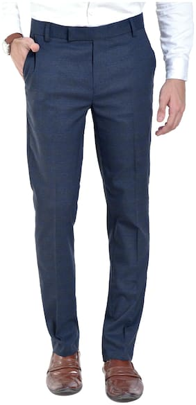 vandnam slim fit blue lycra checks trouser