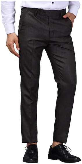 VANDNAM Men Textured Slim Fit Formal Trouser - Brown
