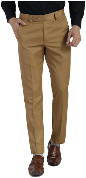 VANDNAM Men Solid Slim Fit Formal Trouser - Gold