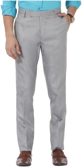 VANDNAM Men Solid Slim Fit Formal Trouser - Silver