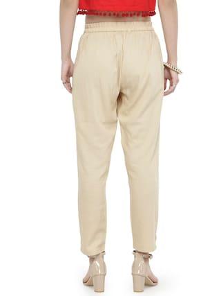 Varanga Beige Solid Pants