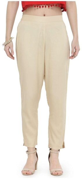 Varanga Women Regular Fit Mid Rise Printed Pants - Beige