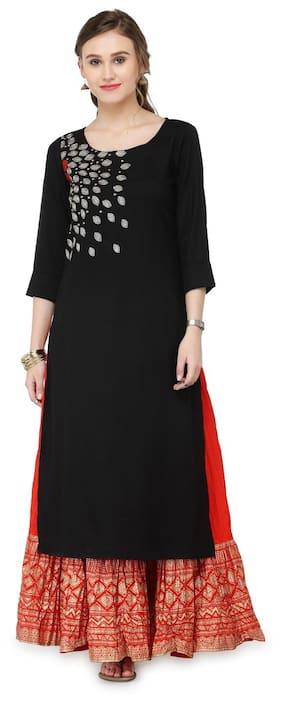 Varanga Black Viscose Rayon Zari Embroidery Kurta With Skirt