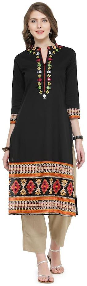 Varanga Women Cotton Embroidered Straight Kurta - Black