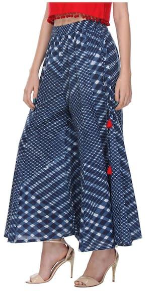 Blue Straight Varanga Cambric Cotton Printed Palazzo 1zIdq7xw