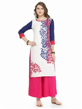 Varanga Blue Cotton Blend Printed Kurta
