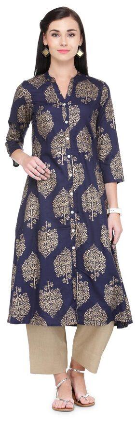 Varanga Blue And Gold Printed Rayon Mandarin Collar 3/4 Sleeves Straight Kurta Kf-Varss17171