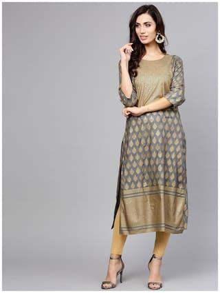 Varanga Women Grey Printed Straight Kurta