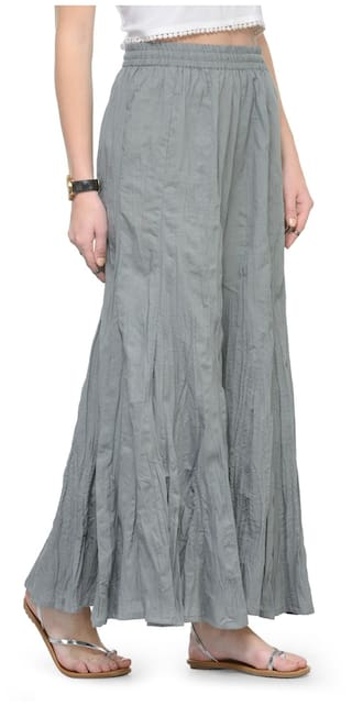 Cotton KF Flared Solid Palazzo Grey VARSS17199 Varanga fxqEnTwnHv