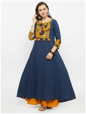 Varanga Women Cotton Printed Anarkali Kurta - Blue