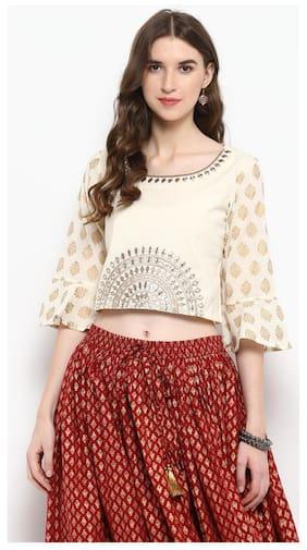 5ccf68f9962786 Varanga Women Cotton Printed - Wrap Top White