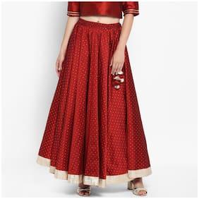 Varanga Printed Assymetric Skirt Maxi Skirt - Maroon