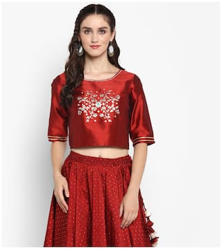 e658a4c13c676 Buy Varanga Women Silk Solid - Wrap Top Maroon Online at Low Prices ...