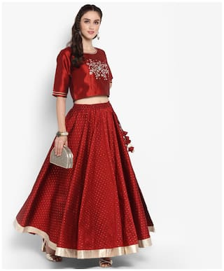 6a2525ce0f Buy Varanga maroon gold crop top with maroon gold skirt Online at ...