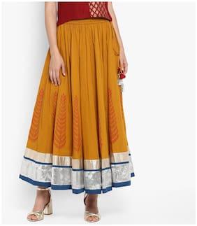 Varanga Solid Assymetric Skirt Maxi Skirt - Yellow