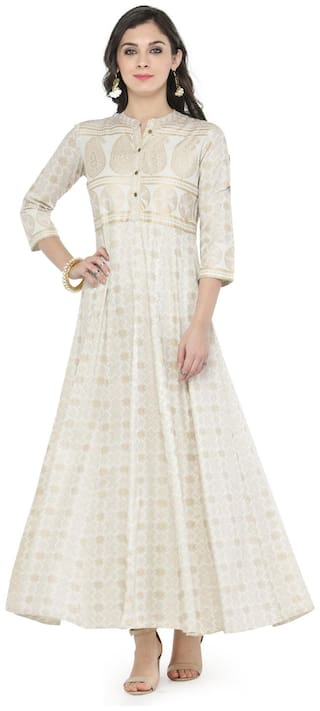 Varanga Off-white Gold Print Kurti Dress