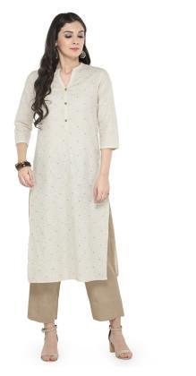 Varanga Off-White Embellished Kurta With Beige Solid Pants